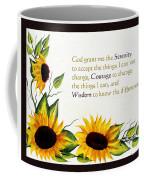 Sunflowers And Serenity Prayer Coffee Mug by Barbara Griffin
