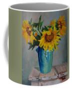 Sunflowers In Blue Vase Coffee Mug