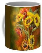 Sunflowers In Sunflower Vase - Square Coffee Mug