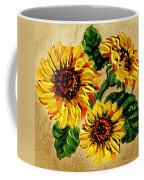 Sunflowers On Wooden Board Coffee Mug