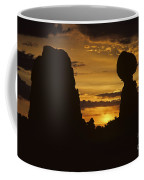 Sunrise Arches National Park With Balanced Rock Silhouetted Agai Coffee Mug
