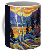Sunset Geo Landscape Original Oil Painting By Prankearts Coffee Mug