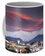 Sunset Over Granada And The Alhambra Castle Coffee Mug