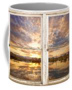 Sunset Reflections Golden Ponds 2 White Farm House Rustic Window Coffee Mug
