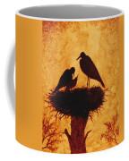 Sunset Stork Family Silhouettes Coffee Mug