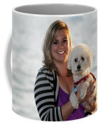 Sunset With Young American Woman And Poodle Coffee Mug