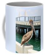 Sunshine Skyway And Pelican Coffee Mug by Carol Groenen