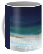 Surf And Sky- Abstract Beach Painting Coffee Mug by Linda Woods