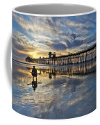 Surfer At Low Tide Coffee Mug by Julianne Bradford