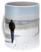 Surfer Checking Out Winter Swell In Belmar Nj Coffee Mug