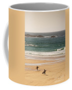 Surfers On Beach 01 Coffee Mug by Pixel Chimp