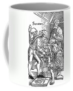 Surgeon Performing An Amputation. Woodcut From An Edition Of Hans Von Gersdoffs Feldtbuch Der Wundartzney, Strassburg, 1540 Coffee Mug