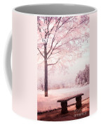 Surreal Infrared Dreamy Pink And White Park Bench Tree Nature Landscape Coffee Mug