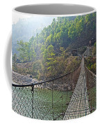 Suspension Bridge Over The Seti River In Nepal Coffee Mug