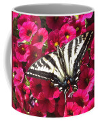 Swallowtail Butterfly Full Span On Fuchsia Flowers Coffee Mug