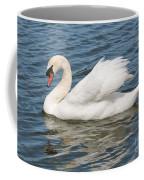 Swan On Blue Waves Coffee Mug