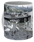 Swans And Ducks In Lake Lucerne In Switzerland Coffee Mug