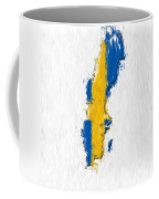 Sweden Painted Flag Map Coffee Mug