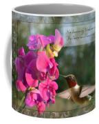 Sweet Pea Hummingbird Iv With Verse Coffee Mug