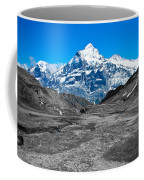 Swiss Alps - Schreckhorn And Valley In Black And White Coffee Mug