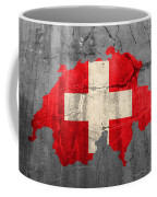 Switzerland Flag Country Outline Painted On Old Cracked Cement Coffee Mug