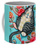 Tabby Cat On A Cushion Coffee Mug