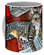 Tabby Cat On Newspaper - Catching Up On The News Coffee Mug