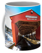 Taftsville Covered Bridge In Vermont In Winter Coffee Mug by Edward Fielding