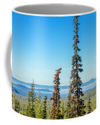 Tall Pine Trees And Hilly Background Coffee Mug