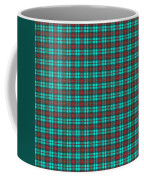 Teal Red And Black Plaid Fabric Background Coffee Mug