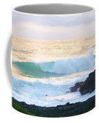 Teal Wave On Golden Waters Coffee Mug