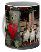 Teddy Bear With Flock Of Stuffed Ducks Coffee Mug