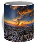Tel Aviv Sunset Time Coffee Mug by Ron Shoshani