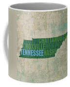 Tennessee Word Art State Map On Canvas Coffee Mug by Design Turnpike