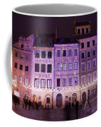 Terraced Historic Houses At Night In Warsaw Coffee Mug