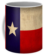 Texas State Flag Lone Star State Art On Worn Canvas Coffee Mug