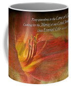 Textured Red Daylily With Verse Coffee Mug