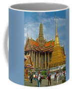 Thai-khmer Pagoda And Golden Chedis At Grand Palace Of Thailand  Coffee Mug