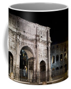 The Arch Of Constantine And The Colosseum At Night Coffee Mug