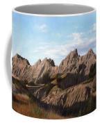 The Badlands In South Dakota Oil Painting Coffee Mug