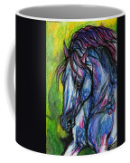 The Blue Horse On Green Background Coffee Mug