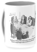 The Boss At An Executive Meeting Points Out An Coffee Mug