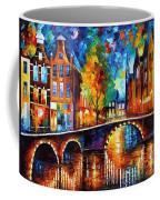The Bridges Of Amsterdam - Palette Knife Oil Painting On Canvas By Leonid Afremov Coffee Mug
