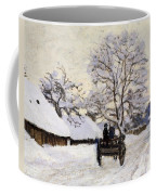 The Carriage- The Road To Honfleur Under Snow Coffee Mug