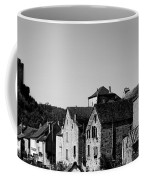 The Castle Above The Village Panorama In Black Nd White Coffee Mug
