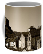 The Castle Above The Village Panorama In Sepia Coffee Mug