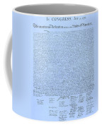 The Declaration Of Independence In Cyan Coffee Mug