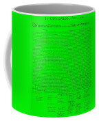 The Declaration Of Independence In Green Coffee Mug