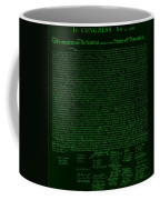 The Declaration Of Independence In Negative Green Coffee Mug by Rob Hans