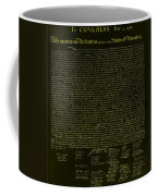 The Declaration Of Independence In Negative Yellow Coffee Mug